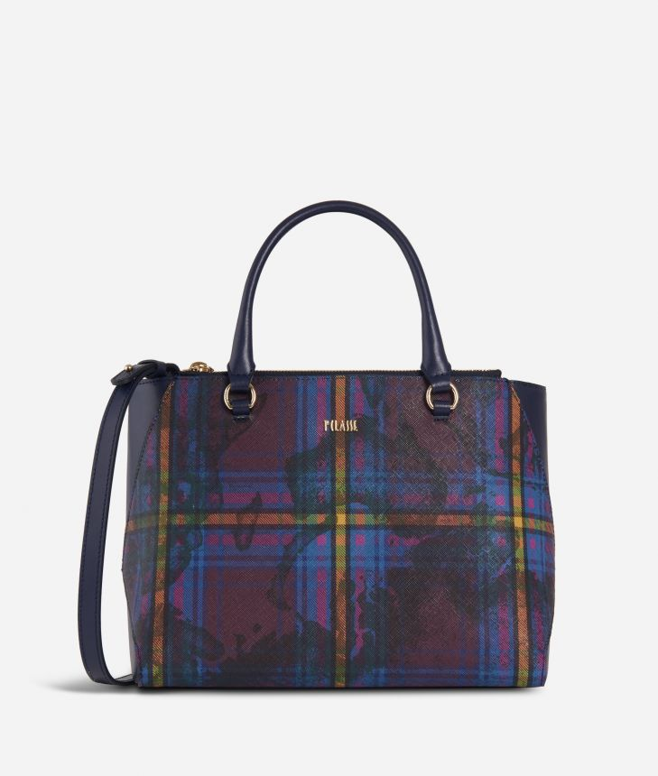 Geo Tartan Medium Handbag Multicolor,front