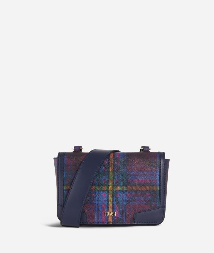 Geo Tartan Crossbody Bag Multicolor,front