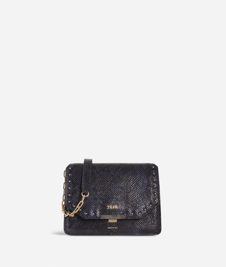 Aurora Bag Crossbody bag with python print Blueberry,front