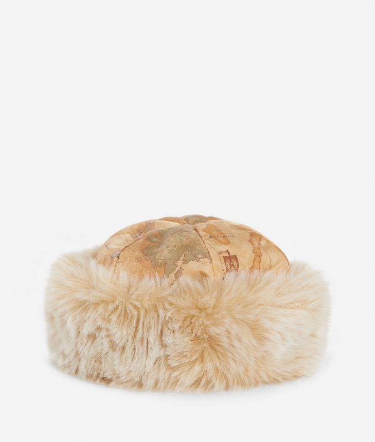 Geo Classic print eco-fur nylon hat Natural Tan,front