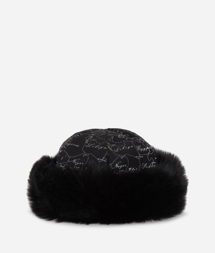 Geo Filetto print eco-fur suede hat Black,front
