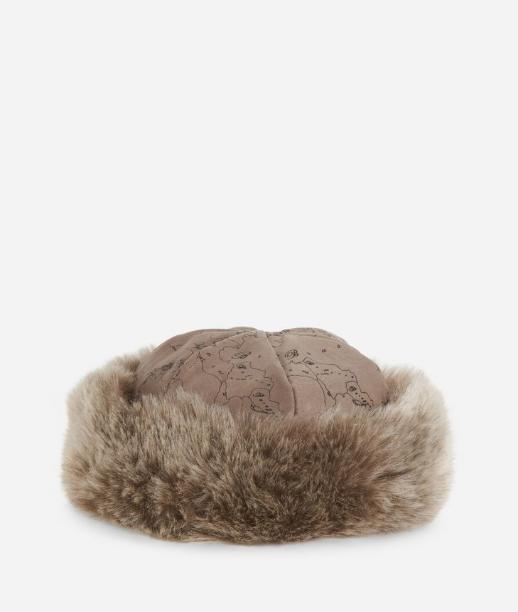Geo Filetto print eco-fur suede hat Mud,front