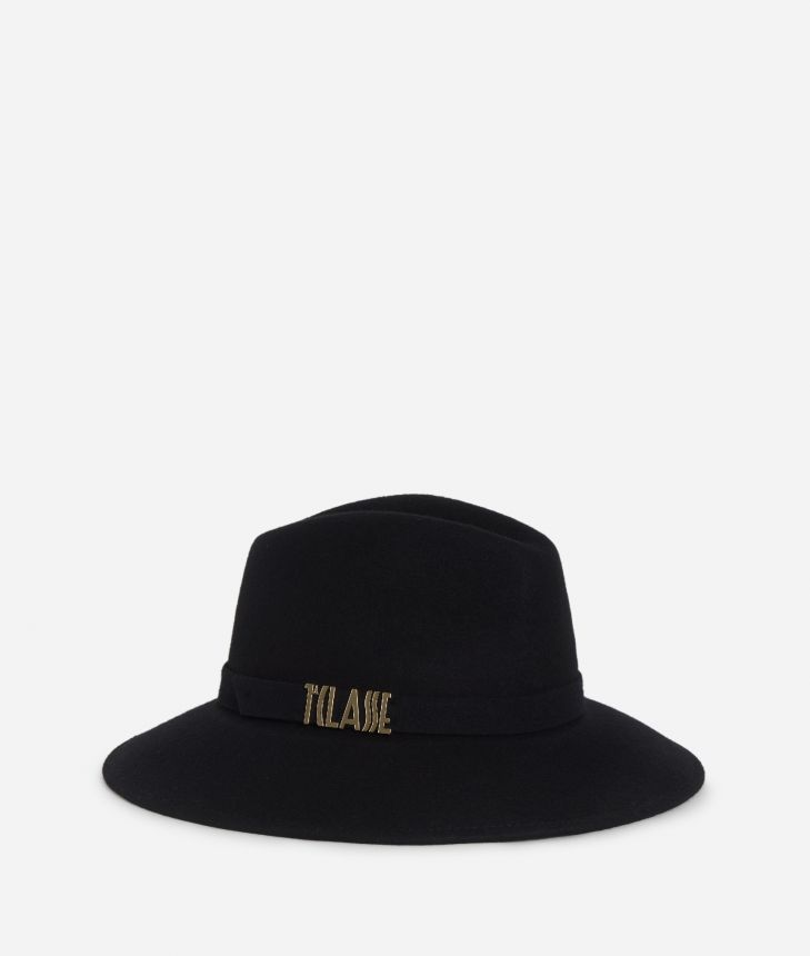Casual felt hat with lettering logo Black,front