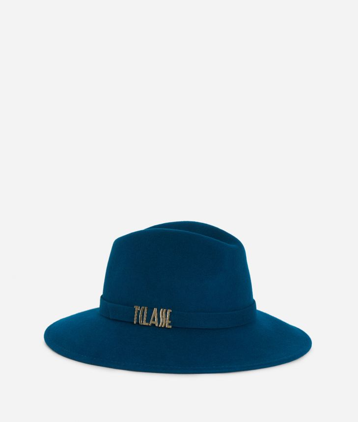 Casual felt hat with lettering logo Teal,front