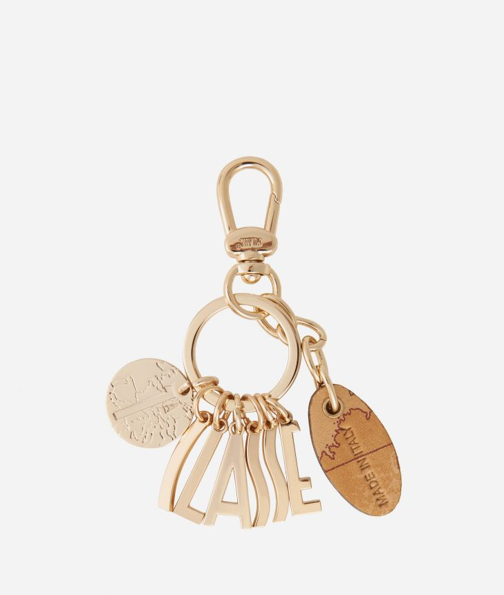 Lettering charms Keyring Light Gold,front