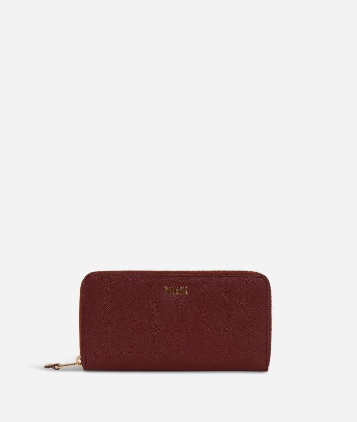 Sky City Ziparound Wallet Cabernet,front