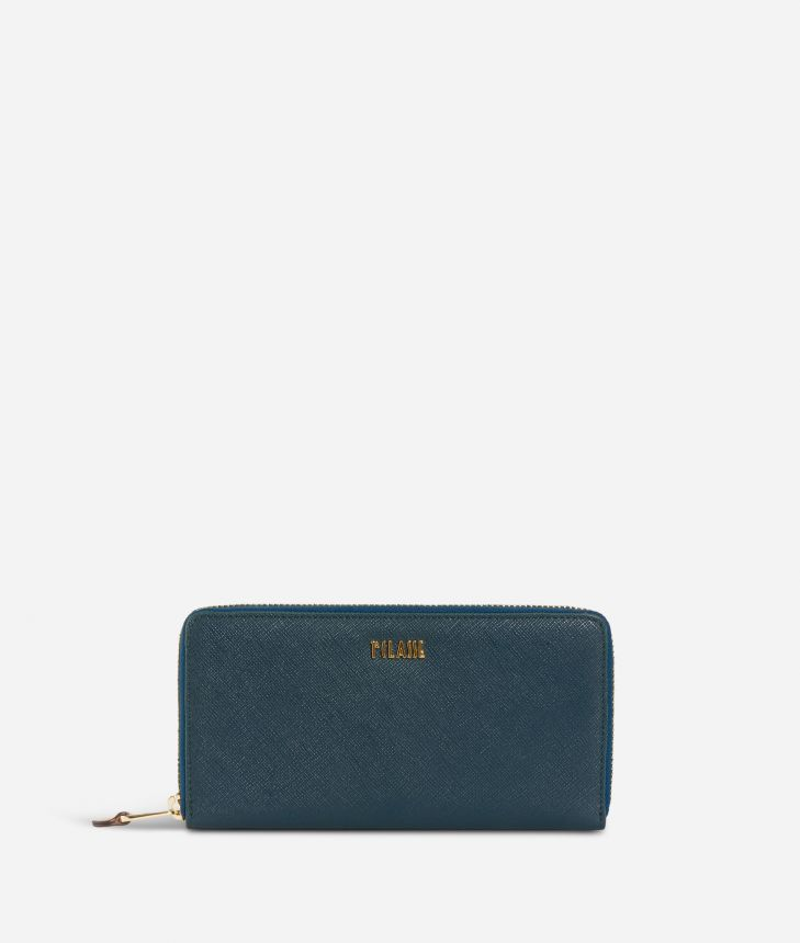 Sky City Ziparound Wallet Teal,front