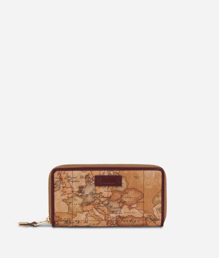 Soft Wood Ziparound Wallet Cabernet,front