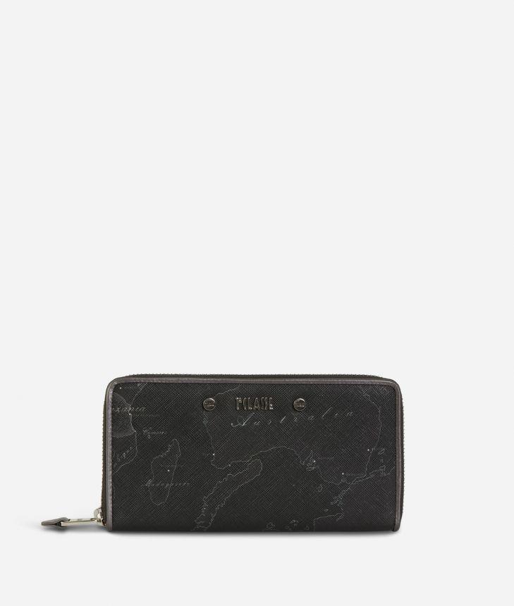 Geo Silver Night Ziparound Wallet Black,front