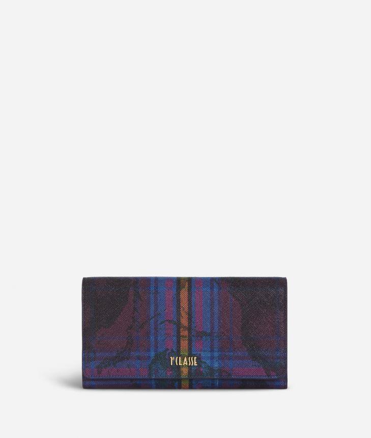 Geo Tartan Wallet Multicolor,front