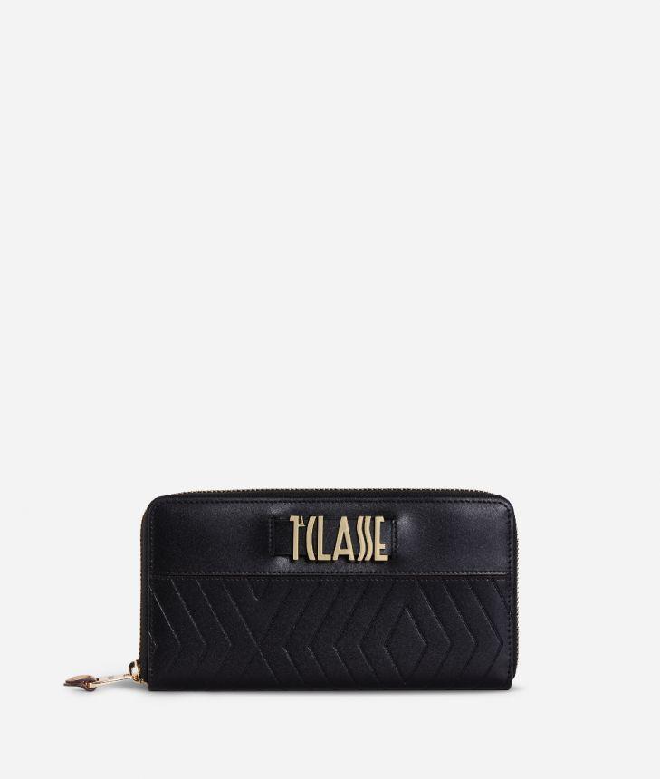 Starlight Line Ziparound Wallet Black,front