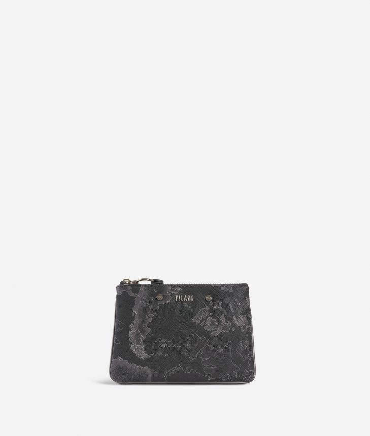 Geo Silver Night Pouch Black,front