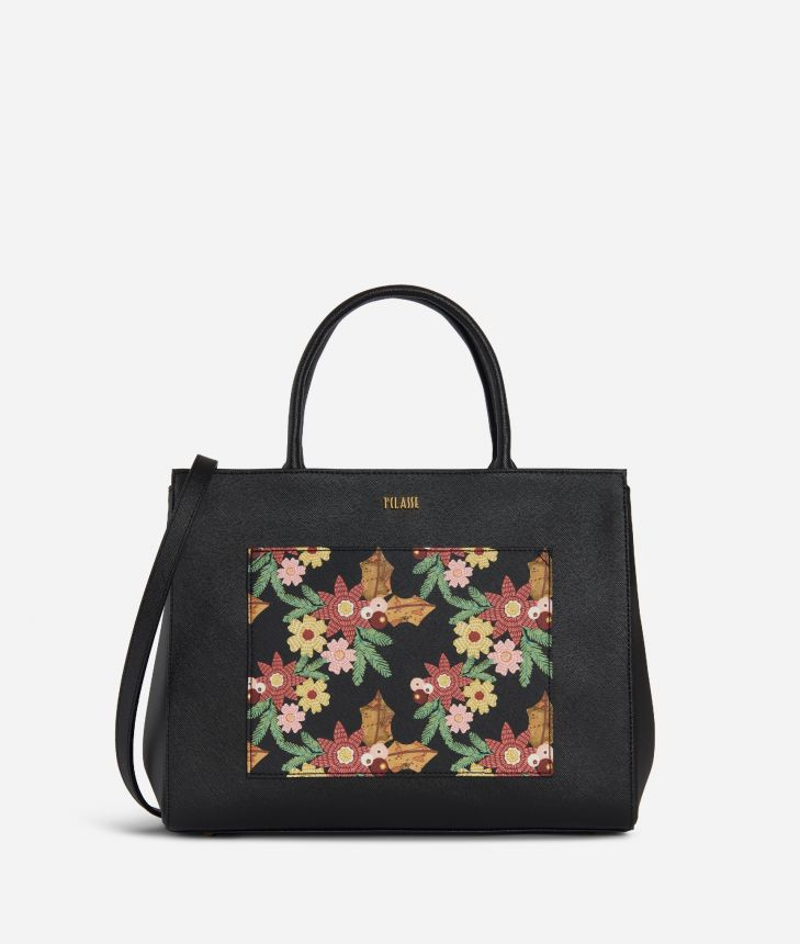 Christmas Flower Borsa a mano media Nera,front