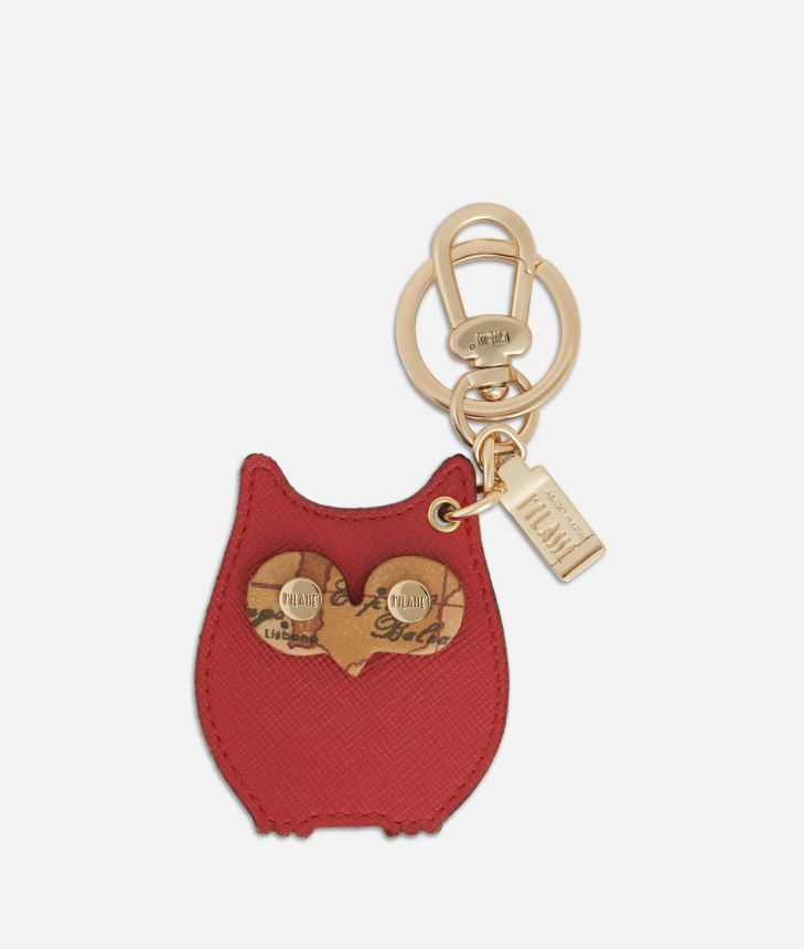 Star City Owl shape Keyring Red,front