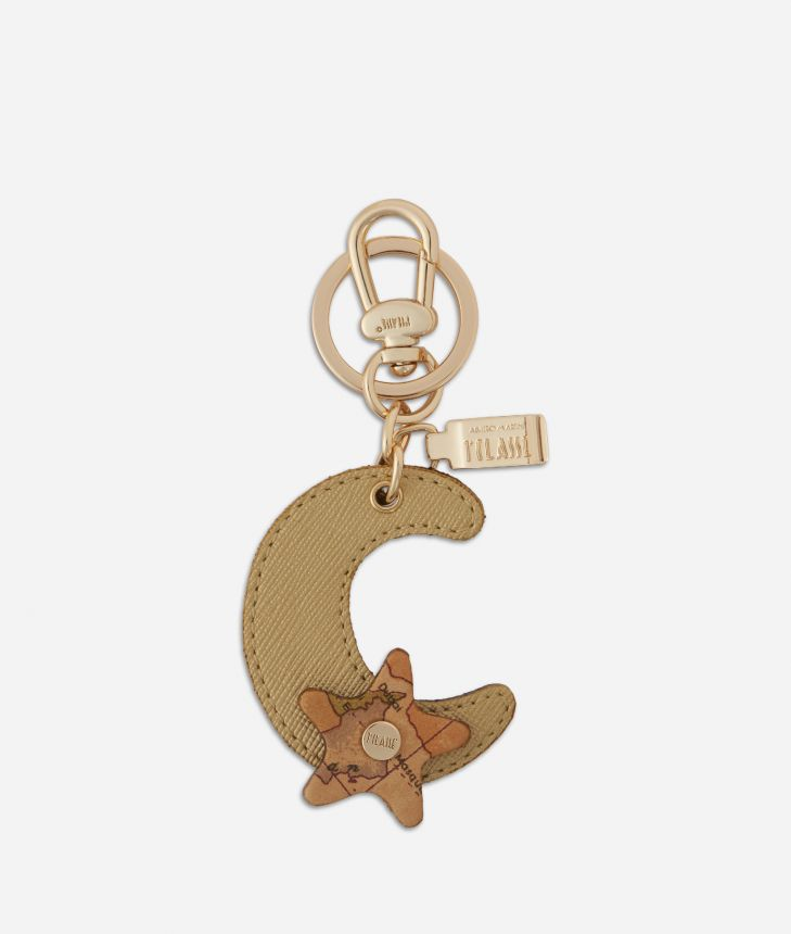 Star City Moon shape Keyring Gold,front