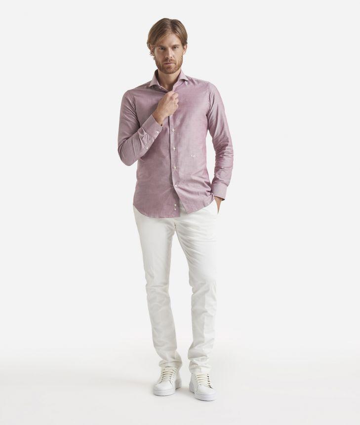 Slim fit shirt in pure cotton Bordeaux,front