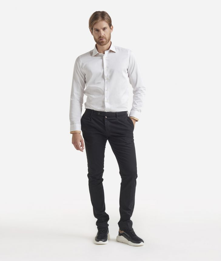 Slim fit cotton shirt White,front