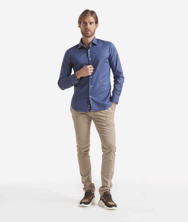 Slim-fit shirt with Geo Classic patches Blue,front
