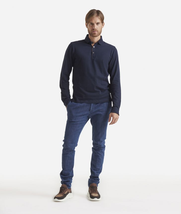 Long sleeves cotton polo Blue,front