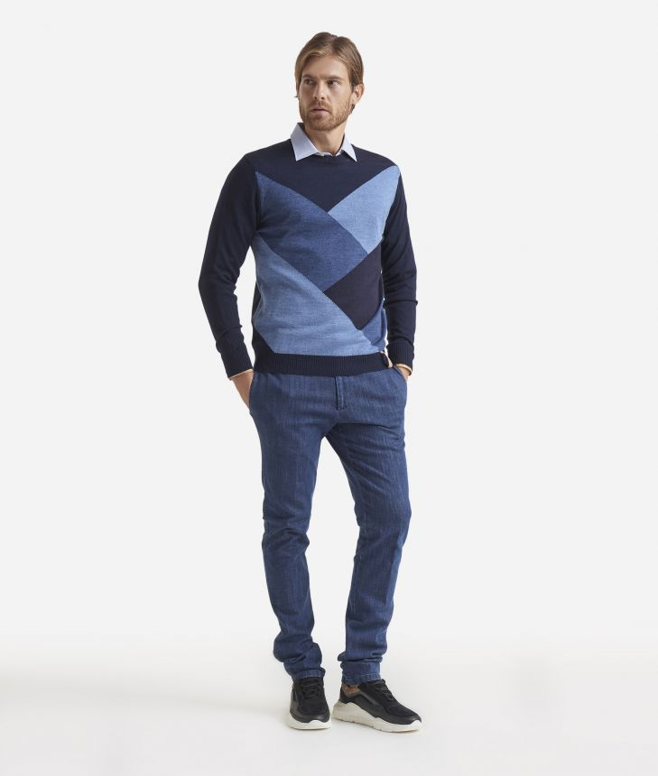 Maglia girocollo in misto lana Blu,front