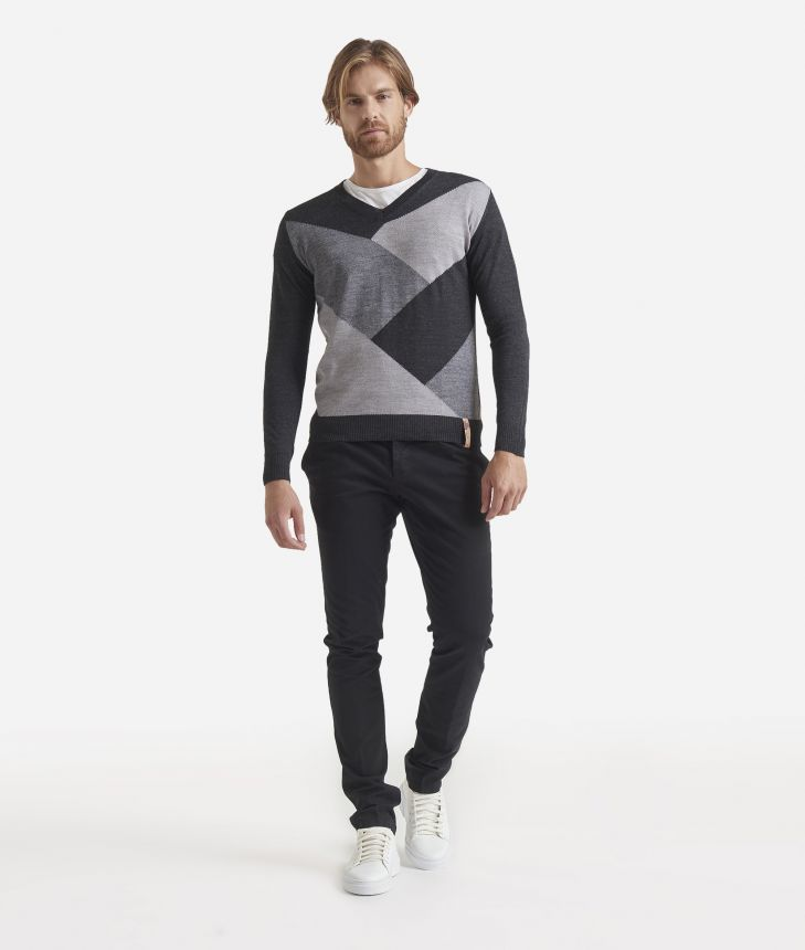 V-neck wool blend sweater Grey,front