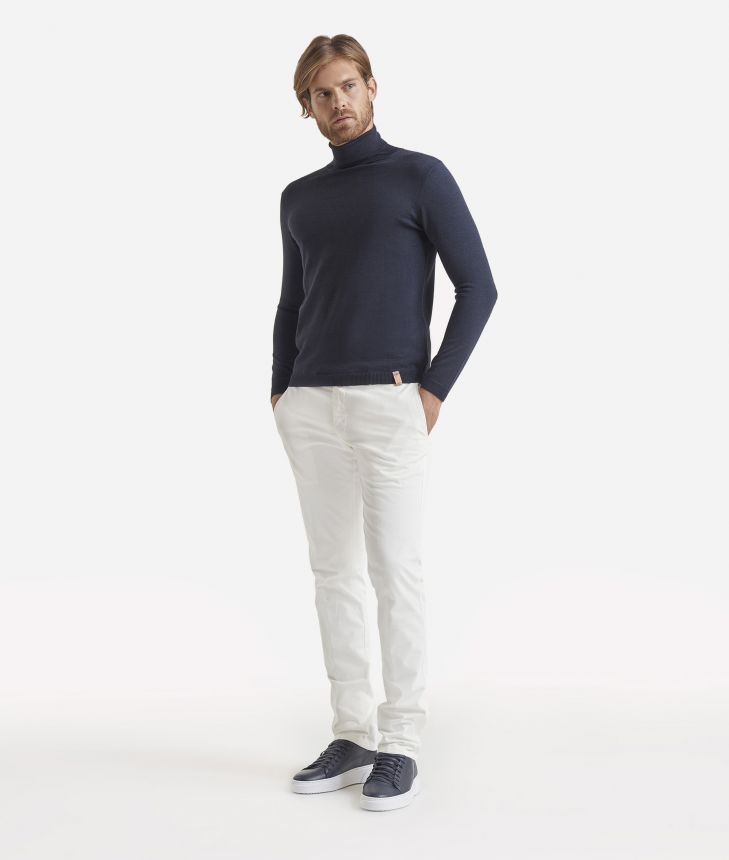 Super slim cotton trousers White ,front