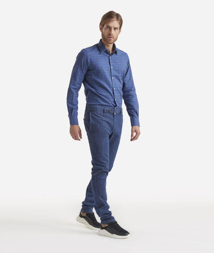 Super slim cotton trousers Dark blue,front