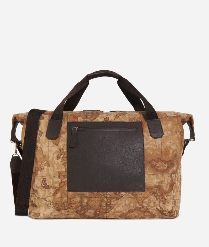Geo Classic print canvas duffle bag,front