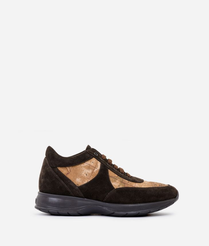 Geo Crossing sneakers in leather Dark Brown,front