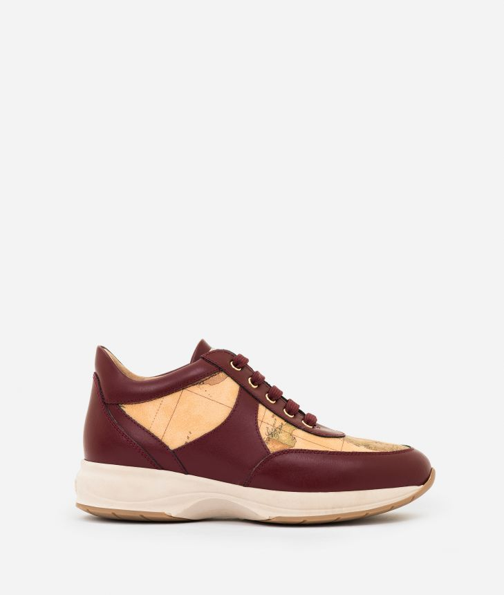 Geo Crossing sneakers in leather and Geo Classic Bordeaux,front