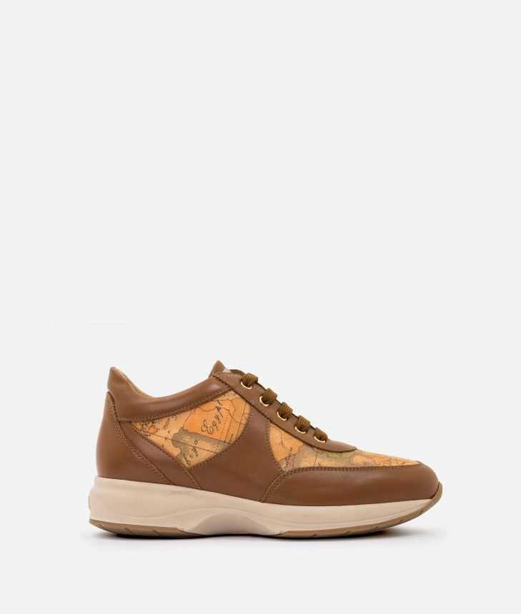 Geo Crossing sneakers in leather and Geo Classic Tobacco,front