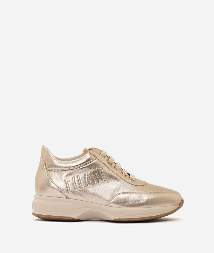 Geo Crossing sneaker in pearly eco-leather Nude,front