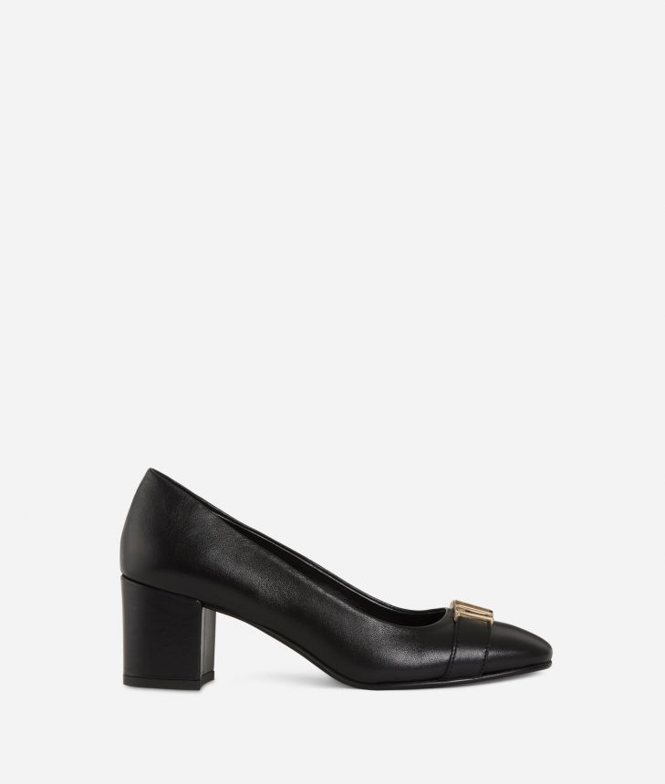 Suede leather pumps with maxi logo Black,front