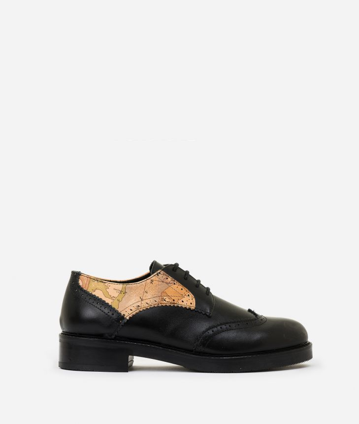 Leather and nappa derby Black,front
