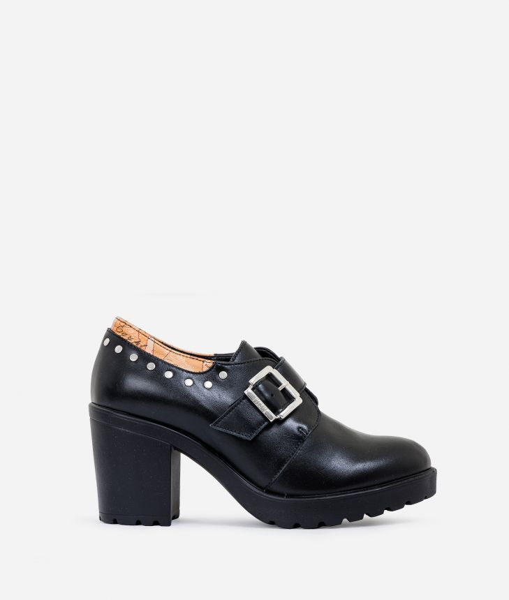 Leather heeled derby with studs Black,front