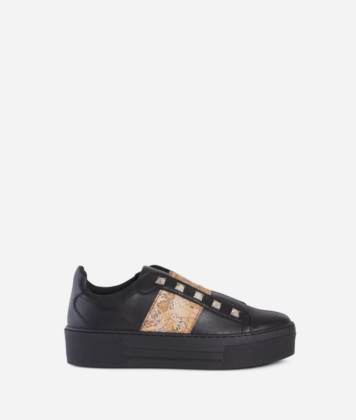 Leather slip-on with studs Black,front
