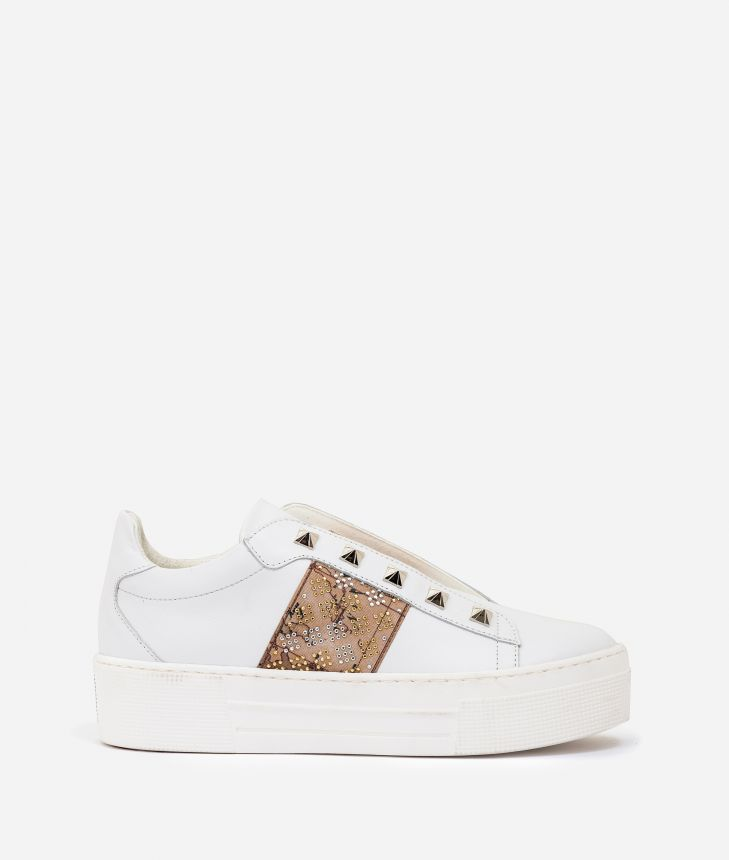 Leather slip-on with studs White,front