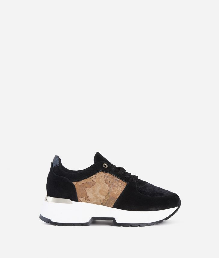 Suede leather sneakers Black,front