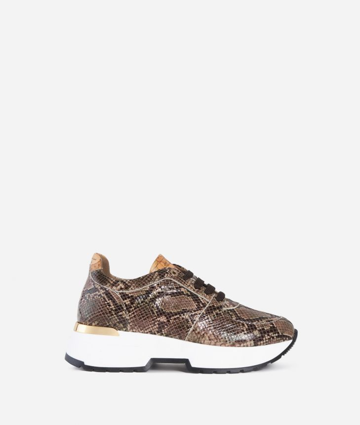 Eco-python leather sneakers Cream,front