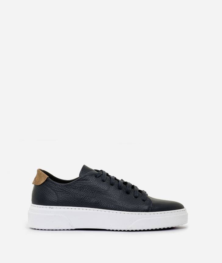 Pebbled leather sneakers Blue,front