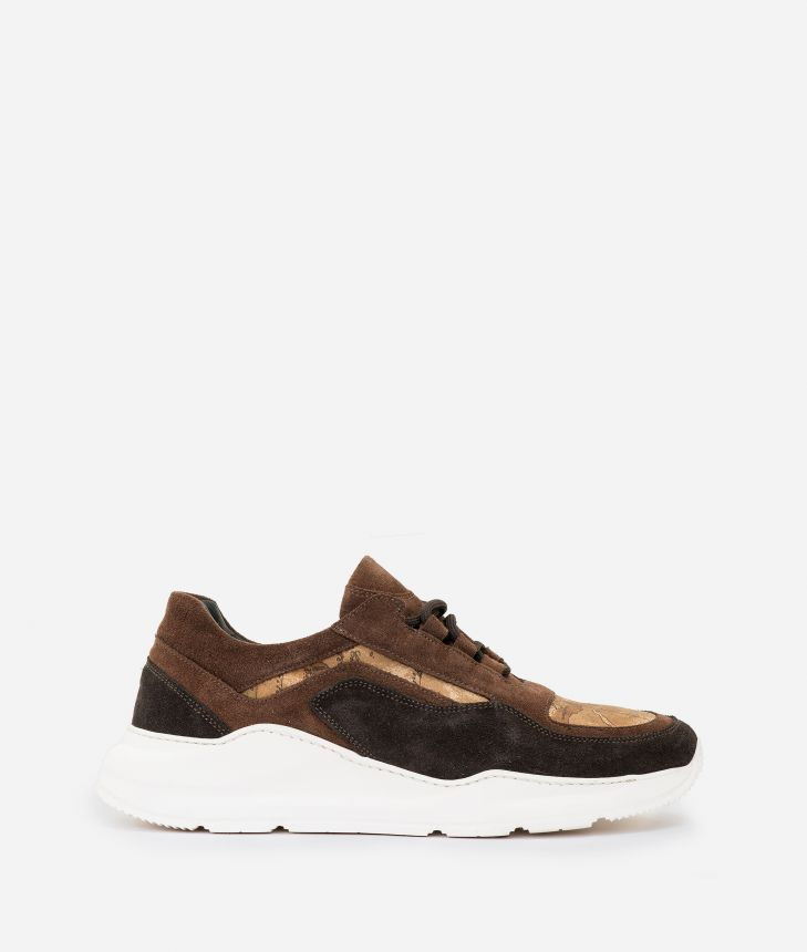 Suede leather and Geo Nabuk sneakers Dark Brown,front