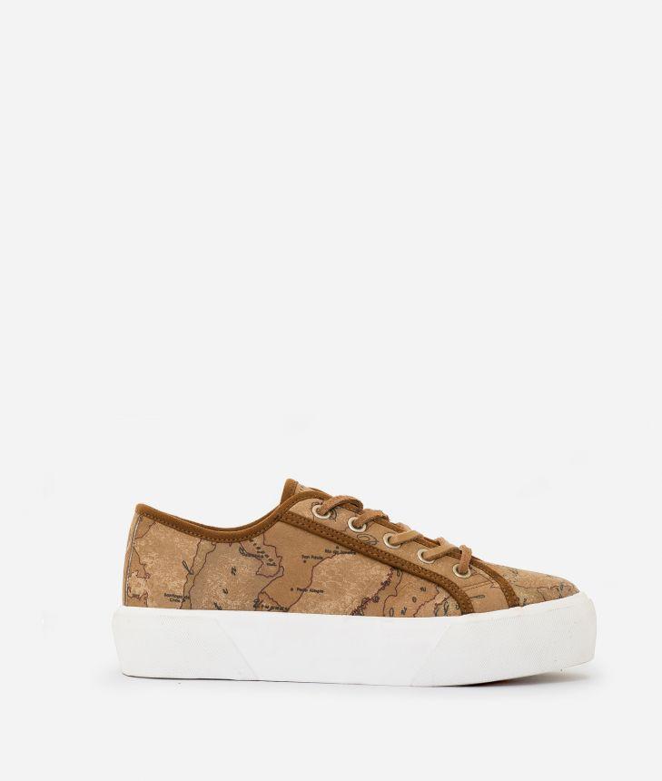 Geo Classic print nabuk sneakers Natural Tan,front