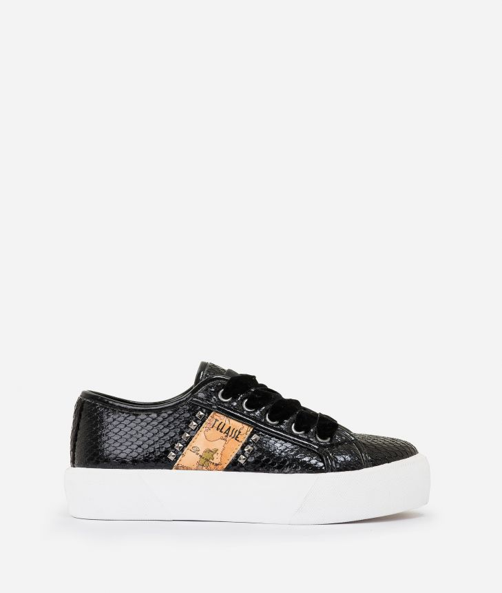 Eco-python leather sneakers with studs Black,front