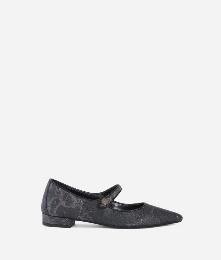 Geo Night pointed ballet flat Black,front