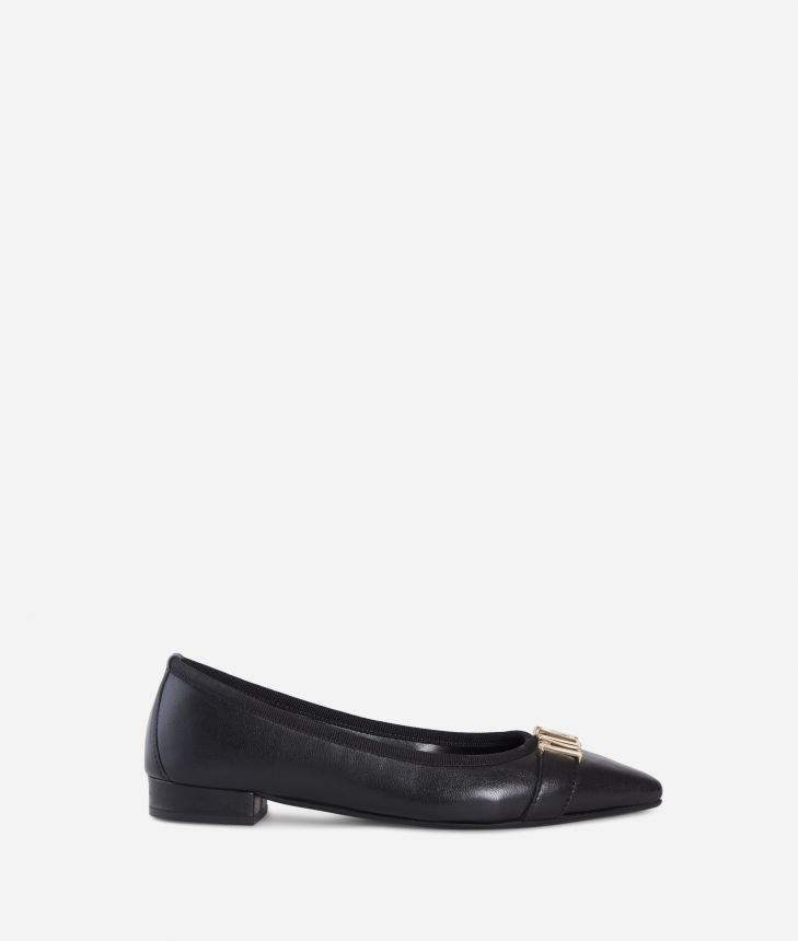 Leather ballet flat with maxi logo Black,front