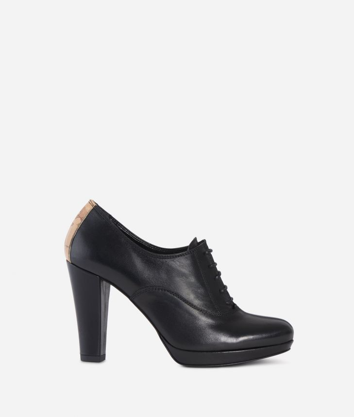 Leather heeled derby Black,front