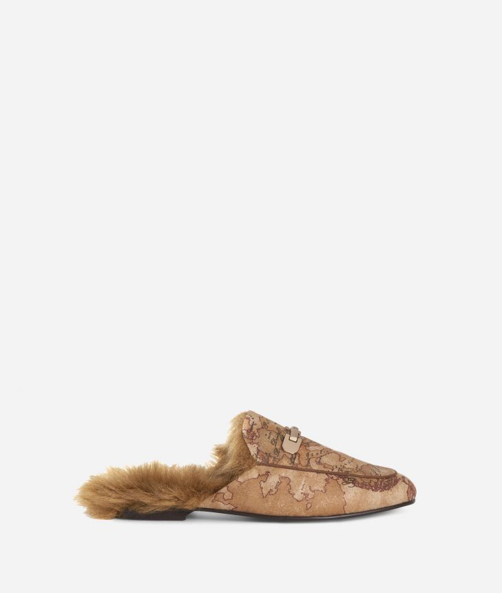 Geo Classic print loafers with eco-fur Bronze,front