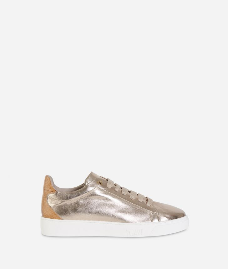 Pearly eco-leather sneakers Nude,front