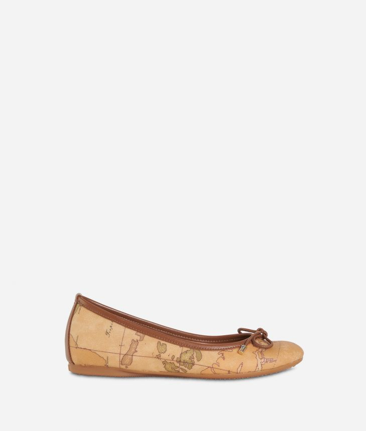 Ballet flats in Geo Classic fabric Natural Tan,front