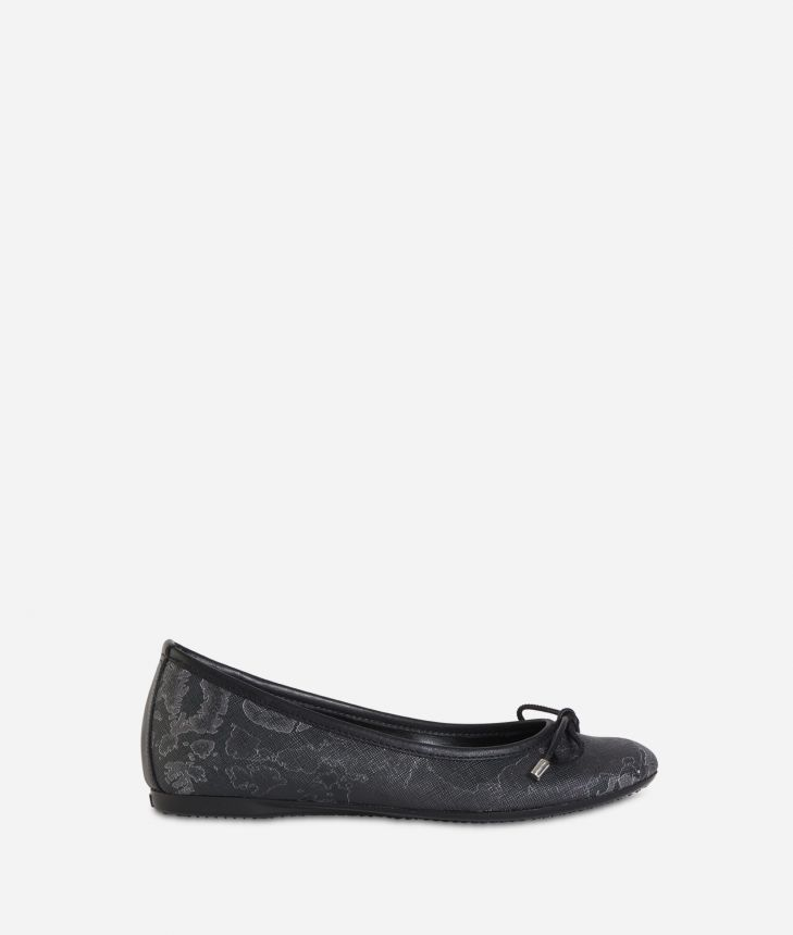 Ballet flats in Geo Black fabric Black,front